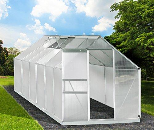 Gewächshaus Aluminium mit Stahlfundament 11,7 m³ Alu Gartenhaus Treibhaus 380x190x195cm 6mm Platten
