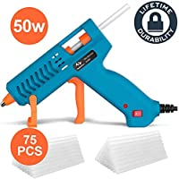 50W Tilswall Hot Glue Gun with 75pcs Glue Sticks Mini Melt Gun Heats Up Quickly, 3 Patents Design, ON-Off Switch for Art, Kids Craft, Sealing, DIY, Home Repairs, Card, Wood, Glass