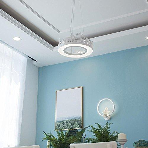 Moderno led sospensione minimalista lampada sospeso città grande ruota design lampadario acrilico lampada da d' ombra bianche metallo anelli lampada pendente luce naturale 4500k 16w bianco