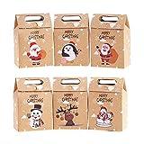 Veylin Lot de 24 boîtes cadeau de Noël en papier kraft pour décoration de Noël 6 styles assortis