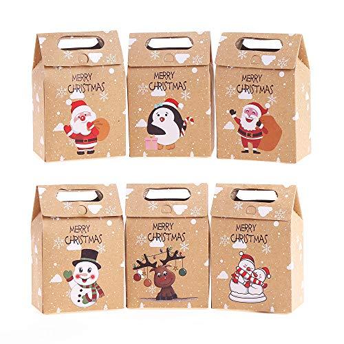 VEYLIN 24 piezas Cajas Regalo Navidad Kraft