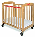 Foundations First Responder Compact Sided Evacuation Clearview Crib with Evacuation Frame, Natural