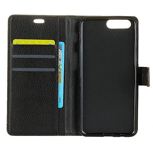 Solid Color Litchi Hautmuster Faux Ledertasche, Retro Folio Stand Case mit weichen Back Cover Geldbörse Tasche mit Card Slots für OnePlus 5 ( Color : Rose ) Black
