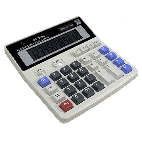 Calcolatrice Da Tavolo,AOLVO Calcolatrice Scientifica Piccola Tascabile 12 cifre calcolatrice Business per ufficio e casa, funzione standard tavolo calcolatrice con Dual Power