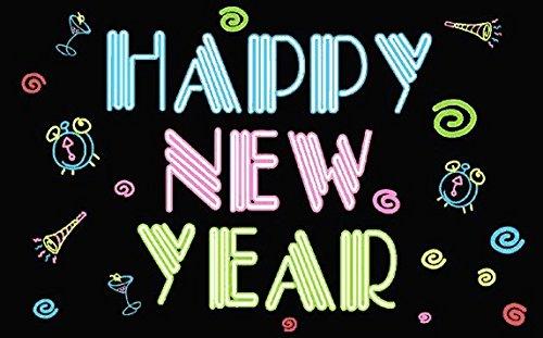 U24 Drapeau Happy New Year Fluo Nouvel An Sylvestre 90 x 150 cm