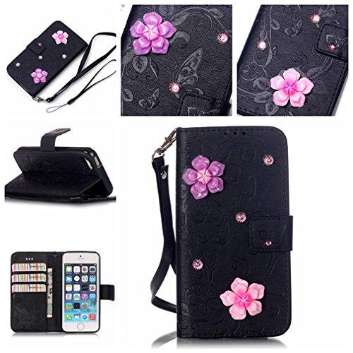 Mk Shop Limited Housse iPhone SE / 5 / 5S, Etui en PU Cuir Portefeuille Coque pour Apple iPhone SE / 5 / 5S Modèle Case avec Fonction Support Stand Multi-couleur 8