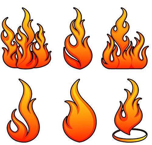 krukemeyer Flammen, Feuer, Flames 6 Stück von 9x18cm bis 14x18cm große Aufkleber - 9 Stück Esszimmer