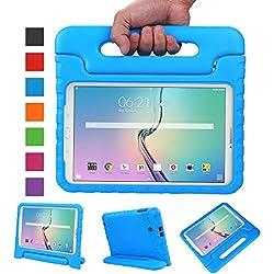 NEWSTYLE Samsung Galaxy Tab E 9.6 Étui Housse,EVA Enfants Antichoc Protecteur Convertible avec Poignée de Transport pour Samsung Galaxy Tab E/Tab E Nook 9.6 Pouces (Bleu)
