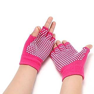 Aquiver Soft Yoga Gloves Non-Slip Fingerless For Gym Body Building Training Sports (Rose red)