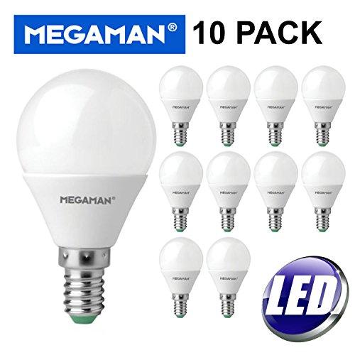Pack of 10 Megaman 143390 LED Golf Ball Light Bulbs E14 SES 2800K Warm White - 3.5 Watt (Caps Billig Ball)