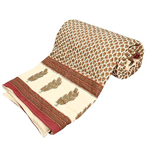 Avighna Print Jaipuri Rajai Mugal Gold Print Cotton with 100% cotton filling Single bed Quilt - Multicolour