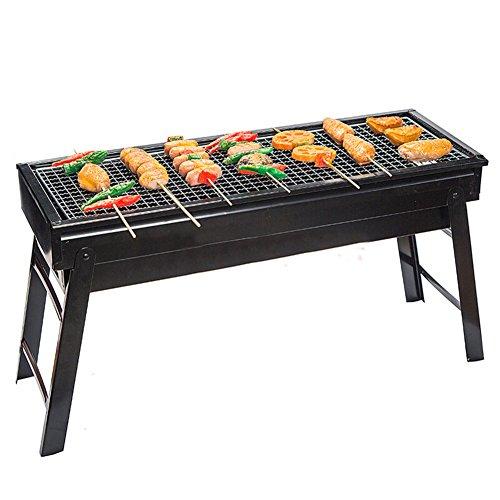 TY&WJ Tragbarer Bbq, Outdoor Faltbar Holzkohlegrill Barbecue Werkzeug Für Camping Wandern Hinterhof heckklappe partei Bbq Abkochen-schwarz 60*22.5*33cm