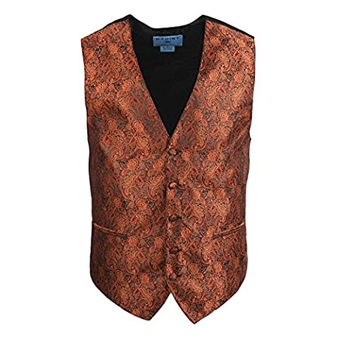 EGC2B01B-S Dark Orange Popular Design Patterns Microfiber Black-Back Dress Tuxedo Waistcoats Vest Excellent For Business By
