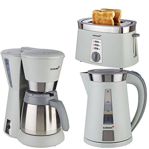 Frühstücksserie im trendigen steingrau/ Edelstahl Design Thermo 3 Geräte=1Preis!!