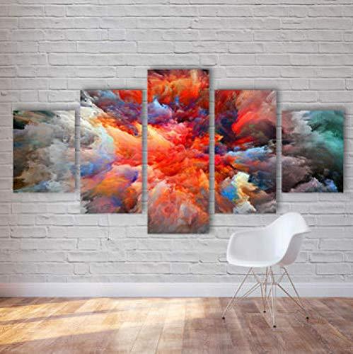 CANPIC Modulare Bilder Für Wohnzimmer Kinderzimmer Dekorative 5 Platten Abstrakte Bunte Wolken Ansicht Leinwand Malerei @ 20X35 20X45 20X55 cm kein Rahmen - Ansicht 16x20 Foto
