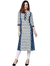 Jaipur Kurti Women Ethnic Motifs Straight Cotton Kurta (Blue)