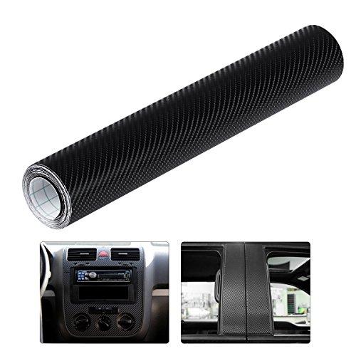 WINOMO 4D Autocollant Fibre Carbone Film Vinyle Adhésif Noir pour voiture Auto Extérieur et Intérieur Décoration