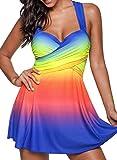 MRULIC Badeanzug 2 Stück Damen Tankini Swim Kleid Beachwear Gefärbt Charmant Bademode Plus Size Bikisuit(Dunkelblau,EU-44/CN-2XL)