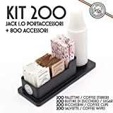 Indispensabile KIT ACCESSORI CAFFE' Extra Large 200 Bicchieri Professionali, Zucchero, Palette. Compreso Elegante Portaccessori VIP