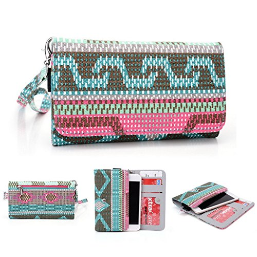 Kroo Handy, der Wristlet Ledertasche mit Kreditkarte Halter passt für Oppo R819/Find 5Mini mehrfarbig grün