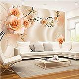 WH-PORP Benutzerdefinierte 3D Seidentuch Blumen Foto Tapeten Floral Rose Wandbild Für Tv Sofa Hintergrund Wohnzimmer Schlafzimmer Einfache Wohnkultur-400cmX280cm
