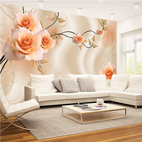 WH-PORP Benutzerdefinierte 3D Seidentuch Blumen Foto Tapeten Floral Rose Wandbild Für Tv Sofa Hintergrund Wohnzimmer Schlafzimmer Einfache Wohnkultur-250cmX175cm