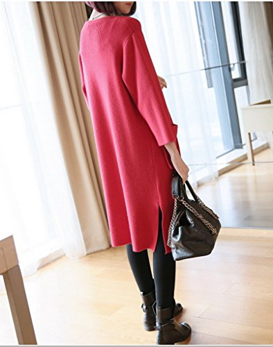 Bigood Pull Cardigan Longue Slim Veste Tricot Manteau Femme Manches Longue Avec Poche Rouge