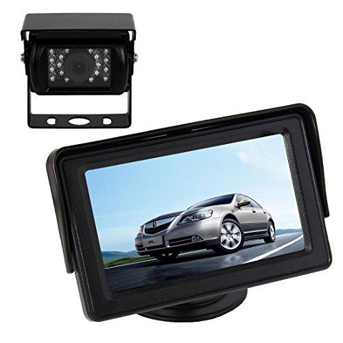 Pathson 4,3 Pouces LCD Moniteur +18 IR Lampes Caméra de Recul Nocturne Étanche 120°Vue Arrière de Voiture Kit pour Camping Car