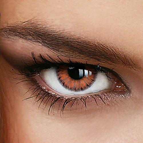 Farbige Jahres-Kontaktlinsen 2-Tone TRUE HAZEL - OHNE Stärke - BRAUN - von LUXDELUX - (+/- 0.00 DPT)