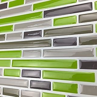 Art3d Kitchen Backsplash Peel & Stick Tile, Smart Brick, Green, 10 Piece by Art3d