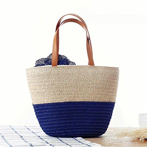 donne ragazze stile pastorale spiaggia fiore due colori sacchetto di spalla tote bag Borsa a tracolla Borse a mano, blu blu