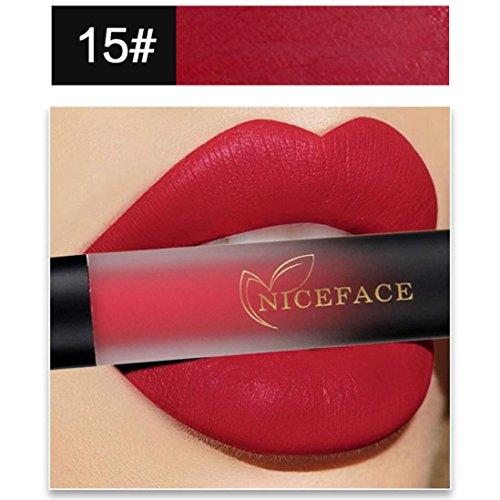 Bluestercool 18 Couleurs Rouge à Lèvres Mat Liquide Waterproof Rouge à Lèvres Dégradé (15#)