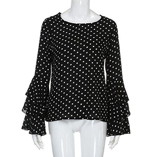 Vêtements LILICAT Femmes couleur unie plus polka dot style tempérament rétro collège mousseline de soie trompette exquise manches longues manches t-shirt dame décontracté chemisier femmes Black