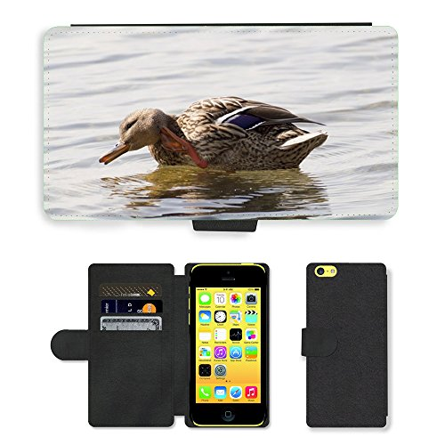 Just Mobile pour Hot Style Téléphone portable étui portefeuille en cuir PU avec fente pour carte//m00139152Canard eau canard d'oiseaux/oiseaux/Apple iPhone 5C