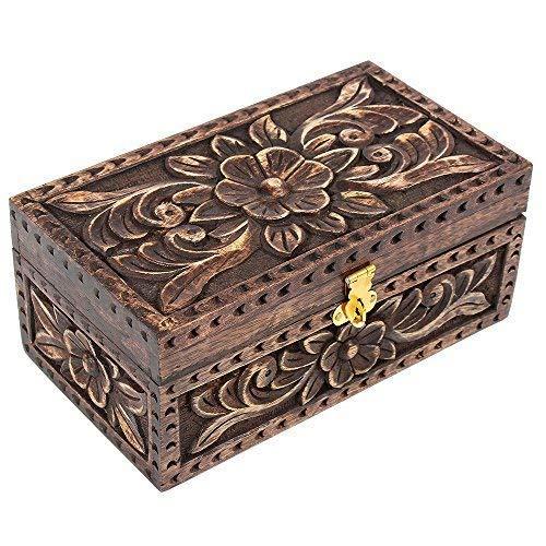 d224742d821f Día de Navidad regalos joyería joyero caja de madera cuadrada pequeña caja  de.