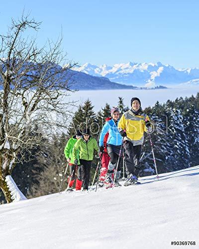 druck-shop24 Wunschmotiv: Sonne genießen beim Winterwandern mit Schneeschuhen #90369768 - Bild als Klebe-Folie - 3:2-60 x 40 cm / 40 x 60 cm