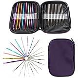 Pindia Aluminium Crochet Hook Knitting Needle with Cover, 12-15cm (Multicolour, DC1700513) - Set of 22