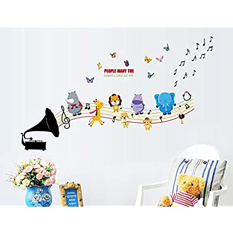 Sangu Musica Animali Adesivi Parete FARFALLA rimovibile Wall Decal per Home (Wild Dog Rose)