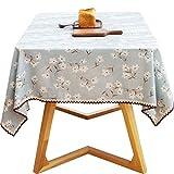 XU FENG Mantel Lavable Natural Simple del algodón y del Lino del rectángulo, Cubierta del paño de Tabla del cordón con el Modelo Impreso para el Tablero de la Mesa de Dinning de la Cocina