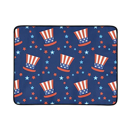 WOCNEMP Unabhängigkeitstag Amerika Festliche Tragbare Und Faltbare Deckenmatte 60x78 Zoll Handliche Matte Für Camping Picknick Strand Indoor Outdoor Reise