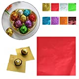 #3: ROYALS SILVER ALUMINIUM FOIL PLAIN COLOR FOR CHOCOLATE / SWEET PACKING 100 PC PACKET (RANDOM COLOR)