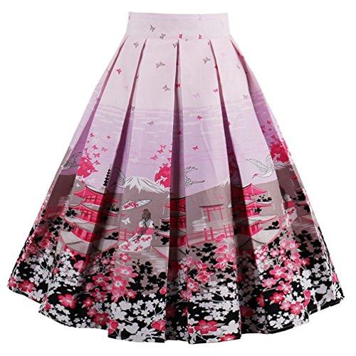 Jahre Pink Kostüm Damen 50er Lady (Minetom Damen Elegant Hohe Taillen Flared A line Gefaltetes Ausgestelltes Knielang Rock Drucken Faltenrock Pink EU)
