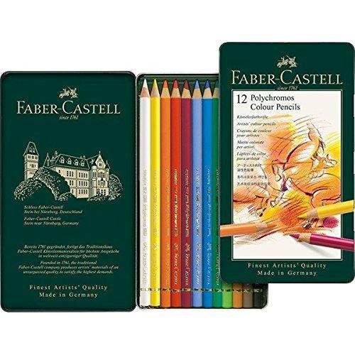 Faber-Castell 110012 – Künstlerfarbstift POLYCHROMOS, 12er Metalletui