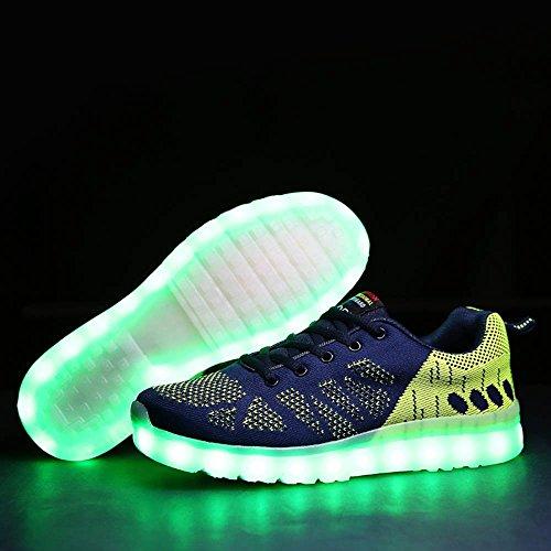 7Couleur USB Charge LED vif tricoter Sport Chaussures de Course Mode Helle Profil Semelle Chaussures de sport plat Runners Baskets Sport Chaussures de sport adulte homme Bleu - Blau Und Grün