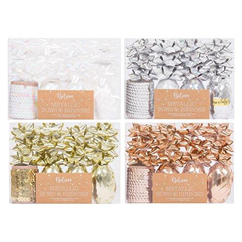Metallic-Schleifen und -band, weihnachtliches Geschenkpapier-Set, zufällige Farbe, 12Schleifen, 3Rollen Band, 1Rolle Pailletten