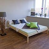 Homestyle4u 640 Stralsund Holzbett Doppelbett aus Kiefer B x L: 140 cm x 200 cm Bettrahmen mit Lattenrost in Natur mit natürlicher Maserung Holz Bett aus Massivholz Futonbett mit Bettgestell und Kopfteil