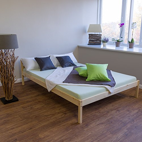 Schlafzimmer-futon-rahmen (Homestyle4u 640 Stralsund Holzbett, Natur mit Lattenrost Futonbett, Bettgestell vom Tagesbett aus Kiefer, 140 x 200 cm)