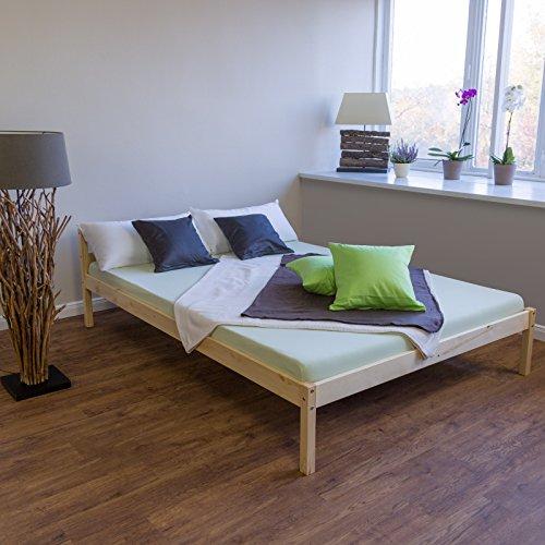 Rost-rahmen (Homestyle4u 640 Stralsund Holzbett, Natur mit Lattenrost Futonbett, Bettgestell vom Tagesbett aus Kiefer, 140 x 200 cm)