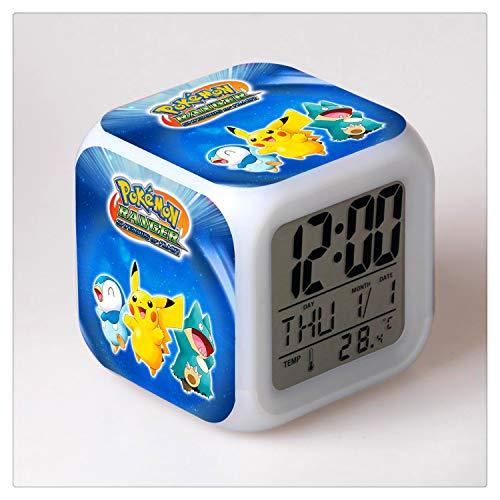 Tian Ran Dai Pokémon Cambio de Color Que Brilla intensamente Reloj Despertador Digital...