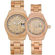 Bewell – Reloj madera reloj hombres y mujeres pareja reloj de cuarzo resistente al agua fecha